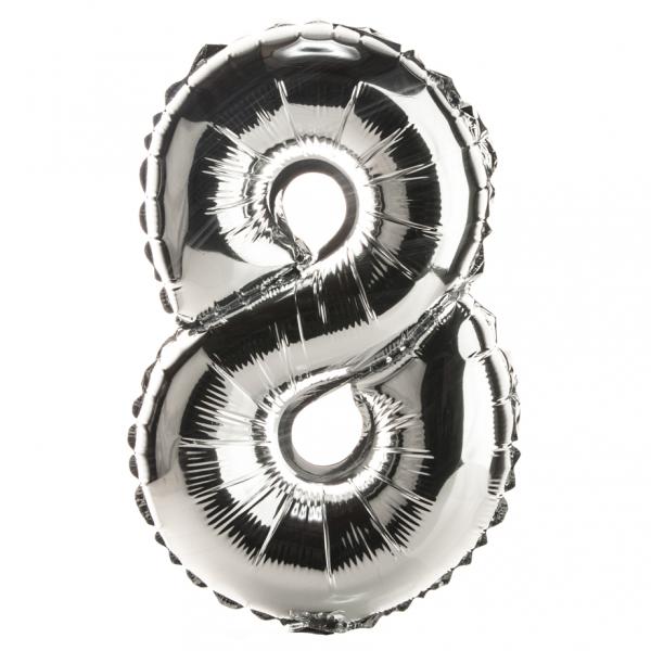 Zahl 8 Folienballon XXL, H: 1m