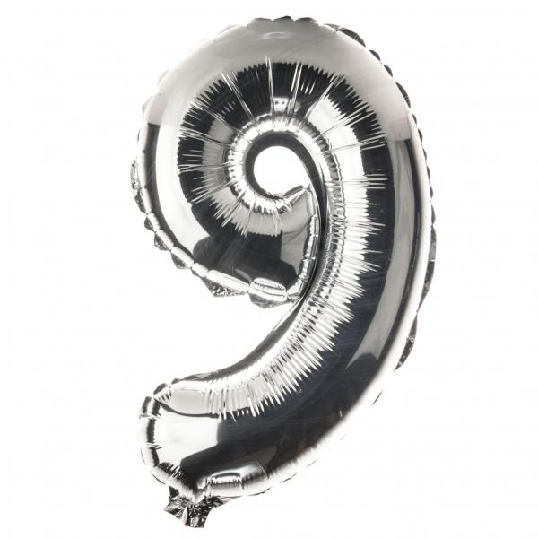 Zahl 9 Folienballon XXL, H: 1m