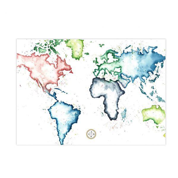 Postkarte - Map of the world