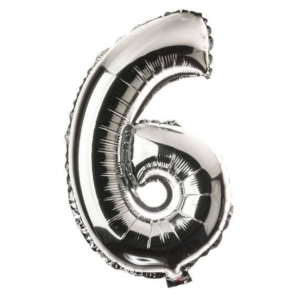 Zahl 6 Folienballon XXL, H: 1m