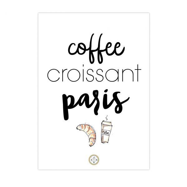 Postkarte - Coffee croissant paris