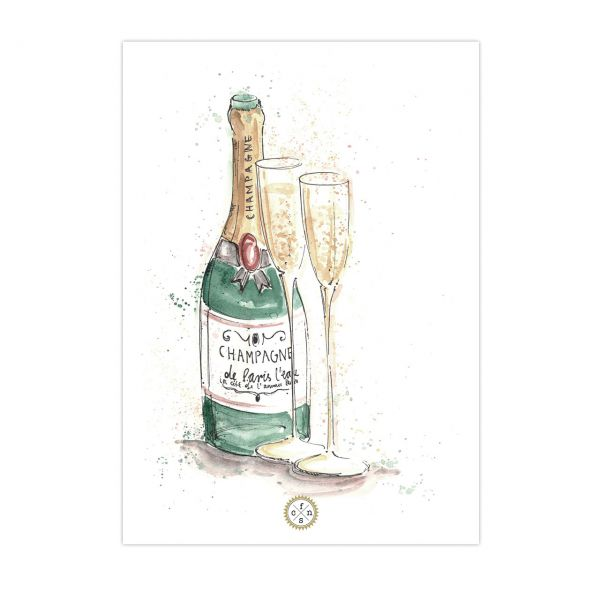 Postkarte - Champagne bottle