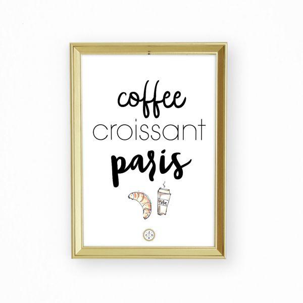Artprint - Coffee croissant paris
