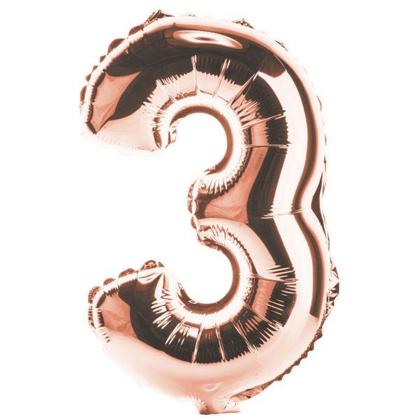 Zahl 3 Folienballon XXL, H: 1m